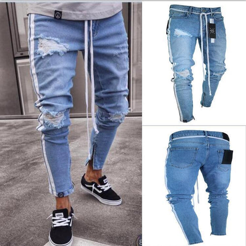 Men's Slim Trousers Hole Jeans Pants