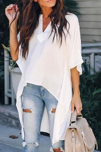 Chic Elegant Irregular V-Neck Top Shirt