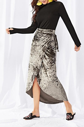 Autumn And Winter New Lace-Up Gold-Tone Velvet Gray Skirt