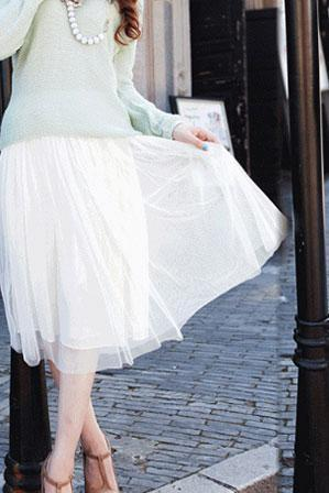 Fashion Loose Plain Double Grenadine Skirt