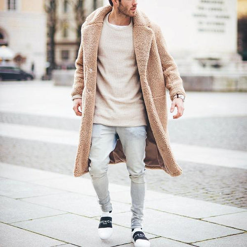Fashion Mens Thicken Warm Wool Plain Outerwear Coat