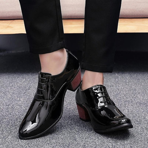 Fashion Plain Strappy Pointed Head Coarse Heel Leather Shoes
