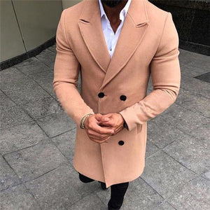 Formal Gentle Fashion Solid Color Button Lapel Long Sleeve Outerwear Coat