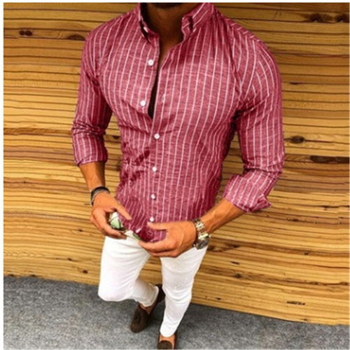 Striped Lapel Casual Long-Sleeved Shirts