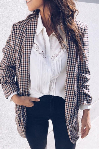 Autumn And Winter   Casual Printed Plaid Coat
