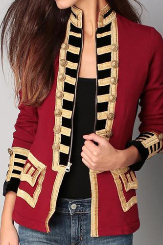 Fashion Long Sleeve Pure Colour Splicing Little Suit