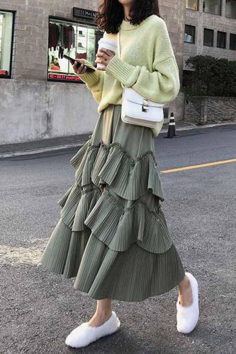 Fashion Pure Color Mid   Long Show Thin Skirt