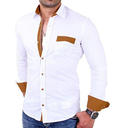 Slim-Fit Men's Colorblock Long-Sleeved Shirts