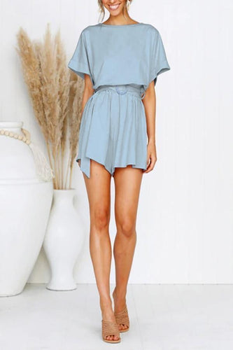 Casual Round Neck Short Sleeve Belted Pure Colour Jumpsuits
