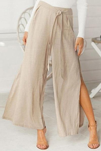 Women's High Waist Open Fork Casual Loose Broad Leg Trousers