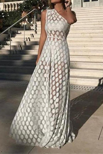 Female Sexy Single Shoulder Sleeveless Wave Point Perspective Maxi Evening Dress