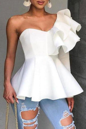 Sexy Ruffled Pure Colour Off-Shoulder Mini Dresses