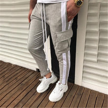 Load image into Gallery viewer, Casual Drawstring Loose Side Streak Blue Patchwork Jogger Pants