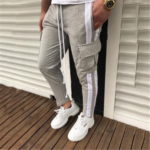 Casual Drawstring Loose Side Streak Blue Patchwork Jogger Pants