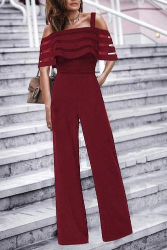 Commuting Boat Neck Ruffled Off-Shoulder Splicing Jumpsuits