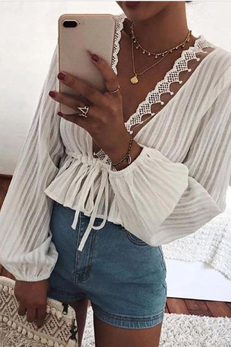 Commuting See-Through V Neck Long Sleeve Blouse