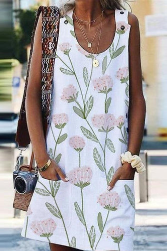 Casual Sleeveless Flower Pattern Printing Button Shift Dress