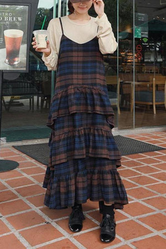 Casual Cotton And Linen Ruffled   Plaid Straps Long Dress