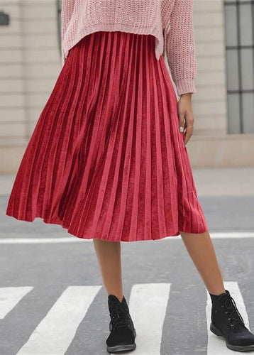 Casual Pure color   corduroy medium length  half skir   pleated skirt