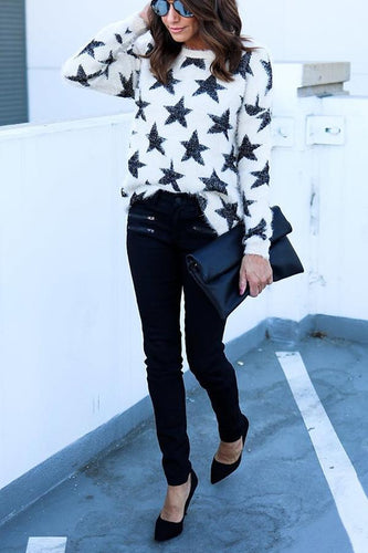 Fashion Five-Pointed Star Print Long Sleeve Sweater