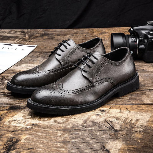 Casual Fashion Men Brogue   business shoes work Leather shoes