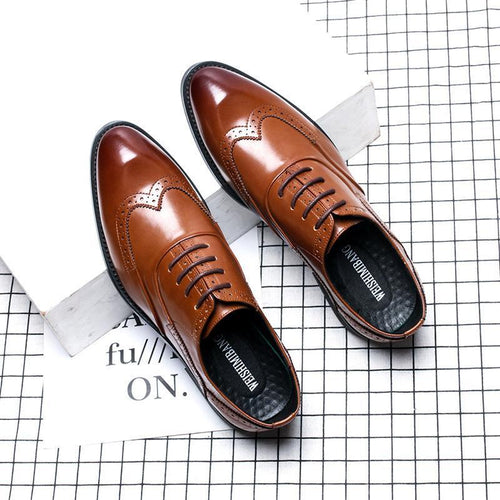 British breathable fashion pointed lace men's leather shoes