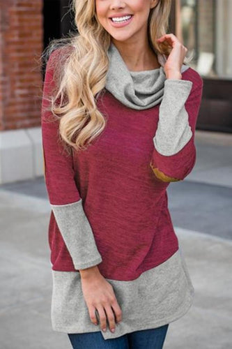 Casual Long sleeve high neck stitch knitted sweatshirt