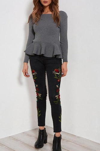 Fashion Flower Inwrought Pencil Jeans