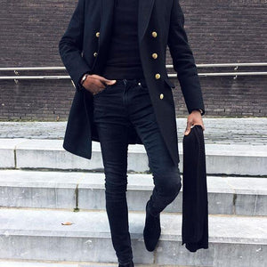 British Style Chic Stand Collar Button Thicken Woolen Long Coat
