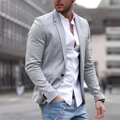 Lapel Solid Color Long Sleeve Coat Pocket Suit