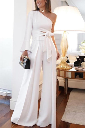 Fashion Pure Colour   Off-Shoulder Jumpsuits
