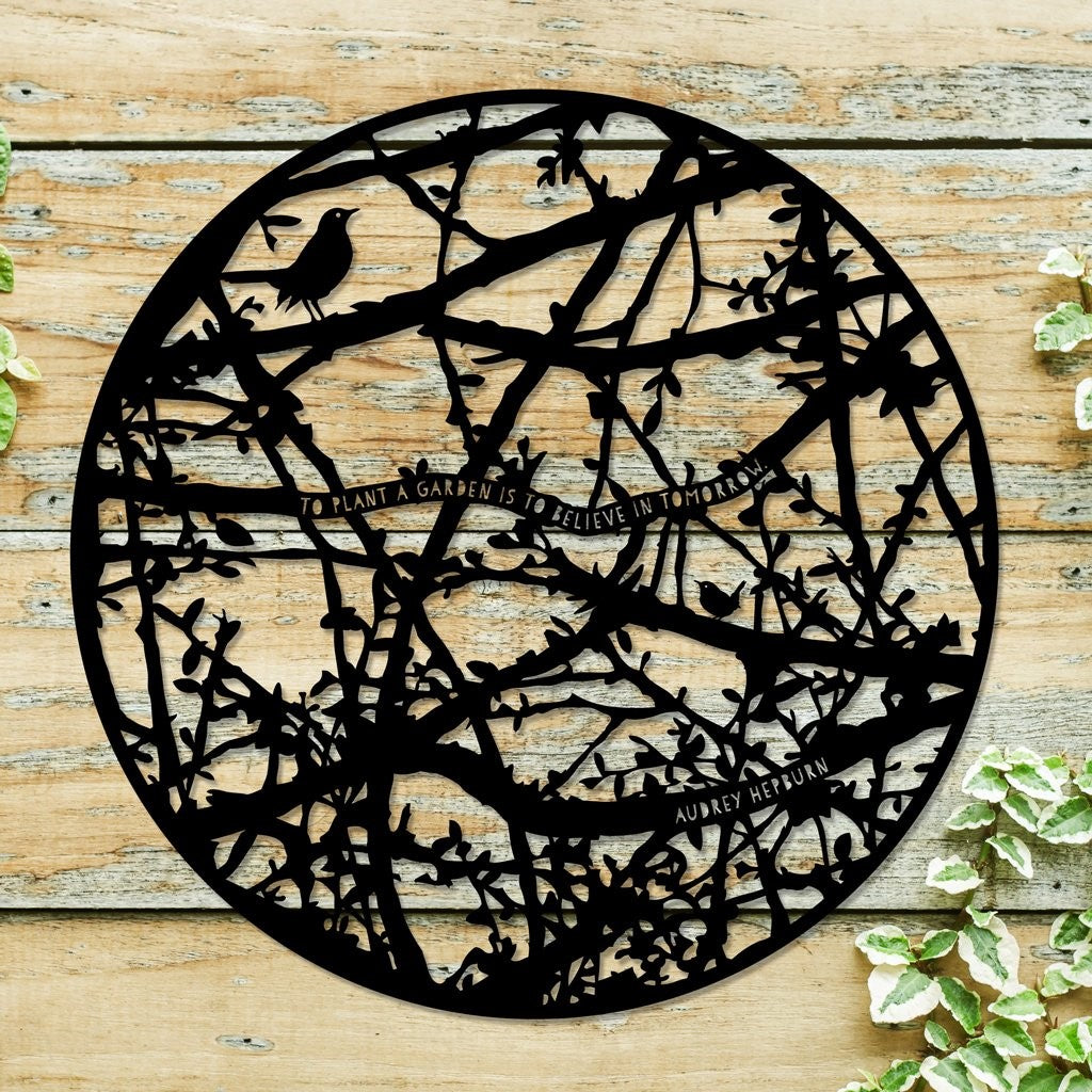 A steel silhoette of blackthorn hedgerow as a beautiful accesoory for your garden or outside wall