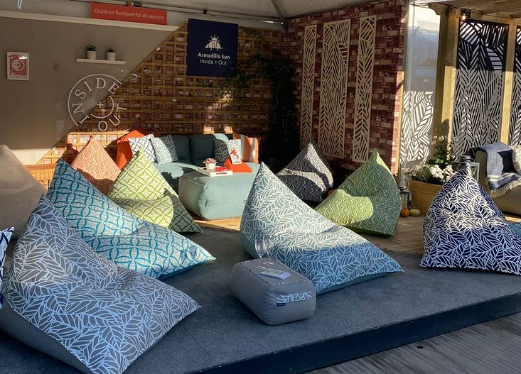 Armadillo Sun outdoor furniture and garden bean bags at Chelsea Flower Show 2021
