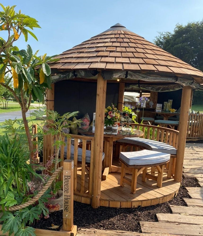 The Breeze House luxury timber garden building providing shade and shelter in any outdoor space