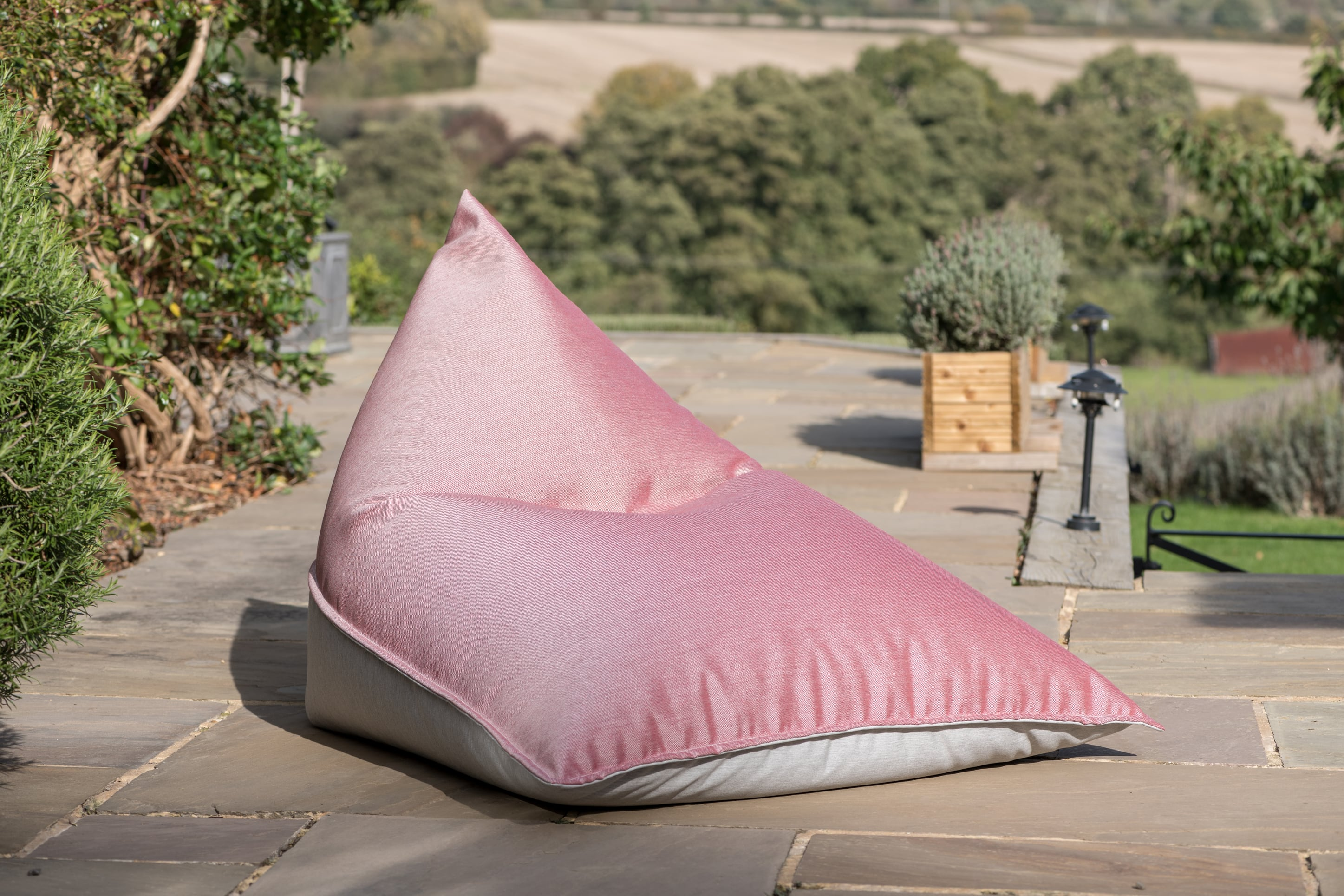 Bean Bag Lounger in Cuba Ruby and Grey Bean Bag Lounger armadillosun