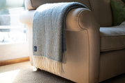 Luxury Duck Egg Fishbone Wool Throw armadillosun