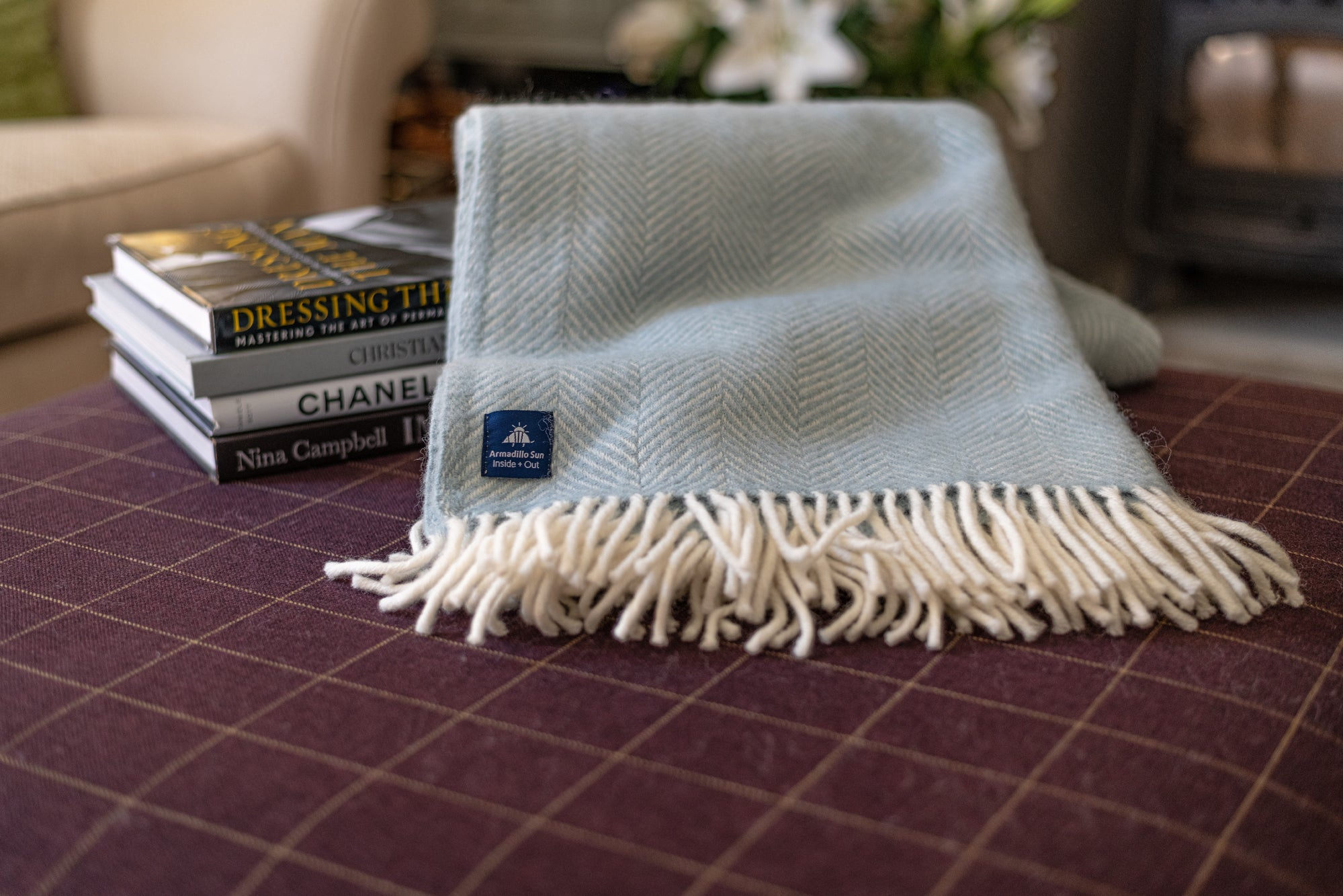 Luxury Duck Egg Fishbone Wool Throw