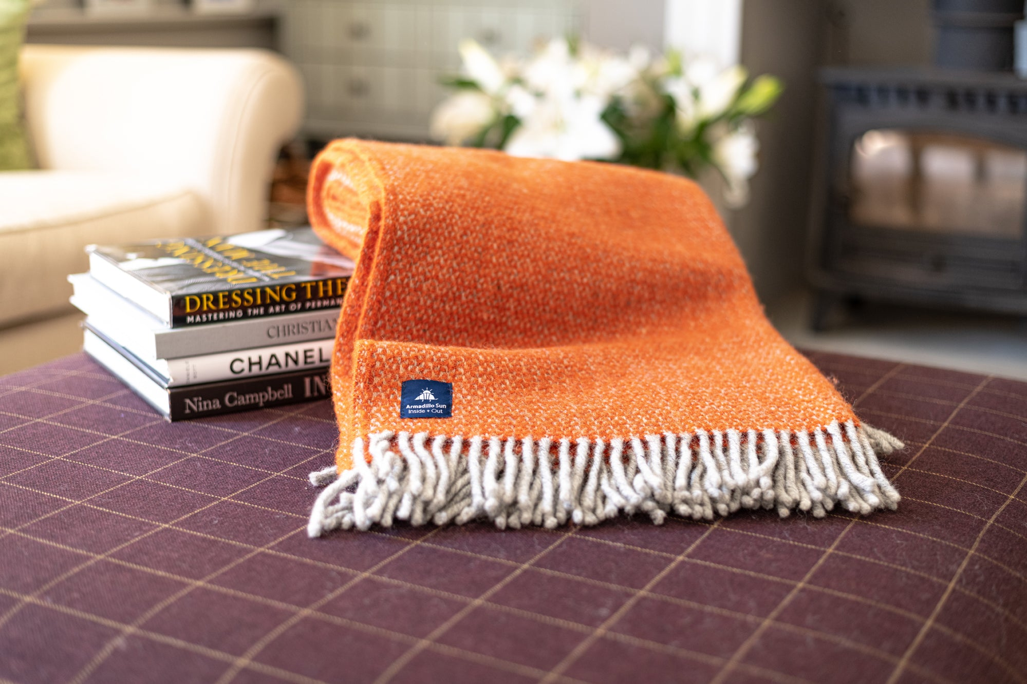 Luxury Pumpkin Illusion Wool Throw