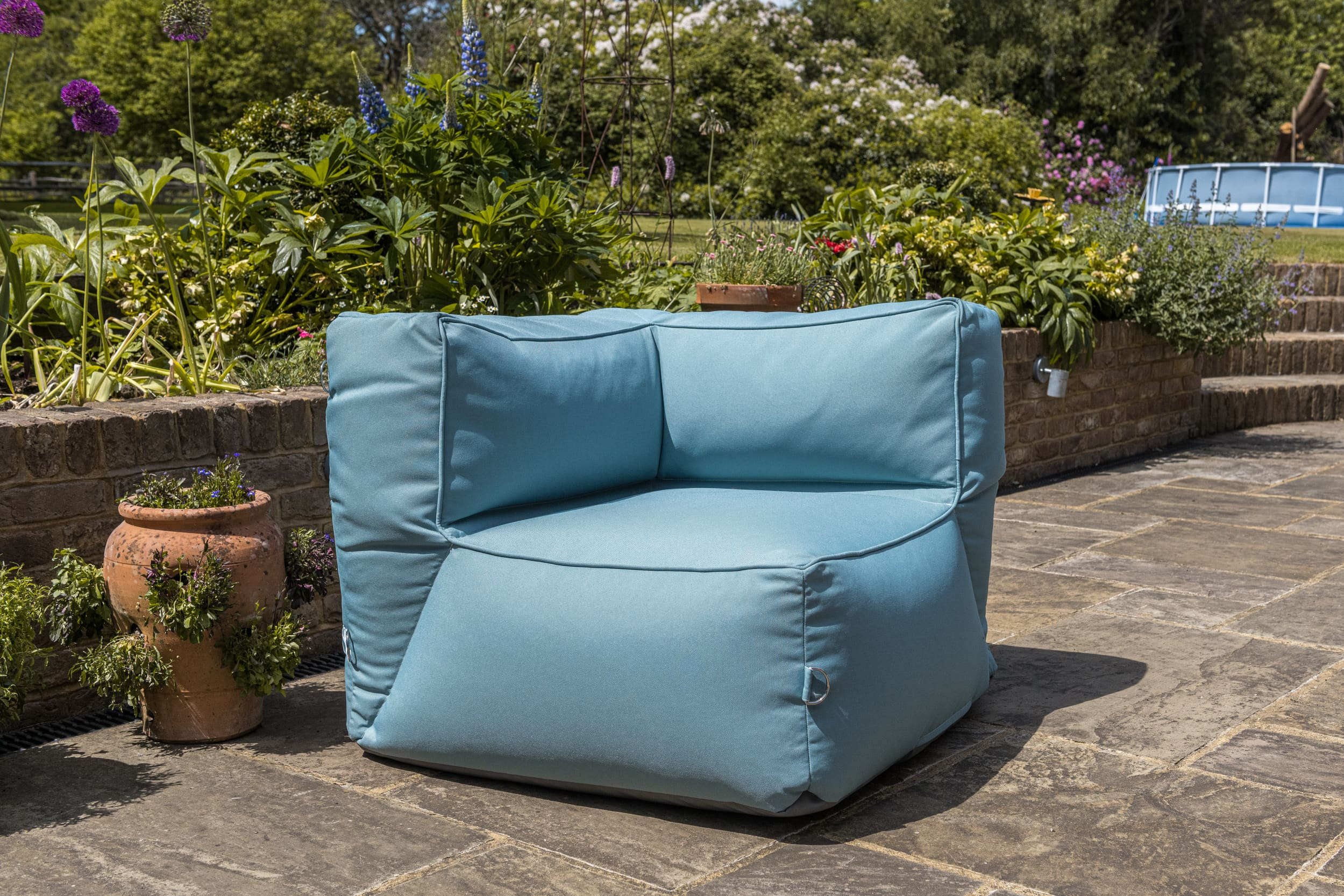 Adult Monaco Modular Bean Bag Corner Chair in Ocean Blue