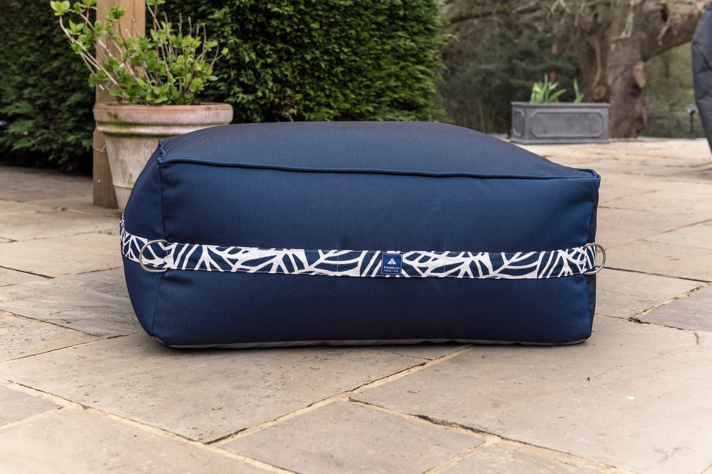 Monaco Modular Ben Bag Ottoman in Navy with Palm Patterned Straps armadillosun