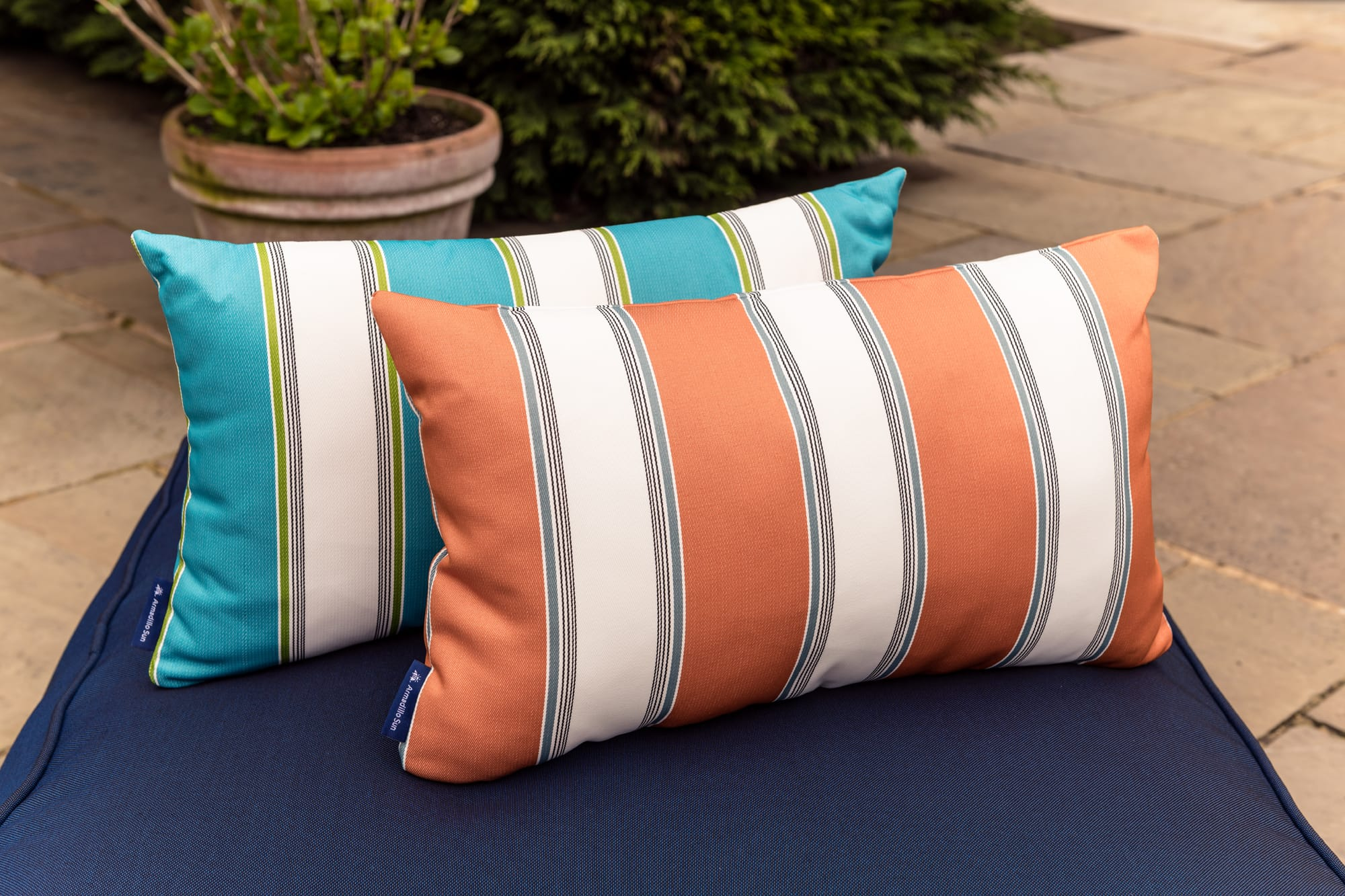 Luxury Summer stripe in Orange,White and Ocean Outdoor Cushion