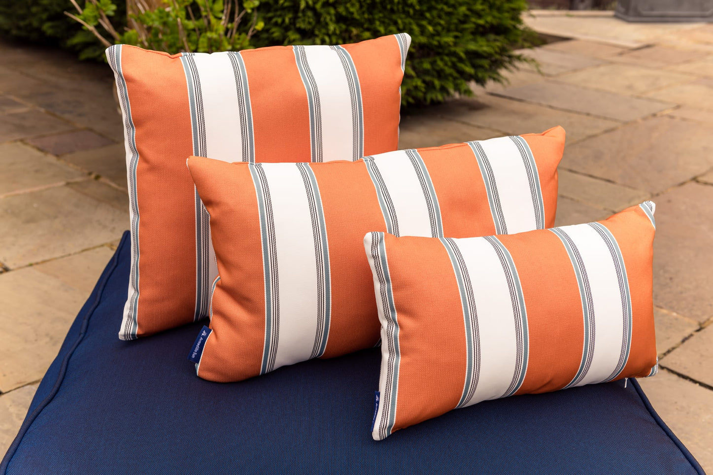 Luxury Summer stripe in Orange,White and Ocean Outdoor Cushion Bean Bag Cushion armadillosun