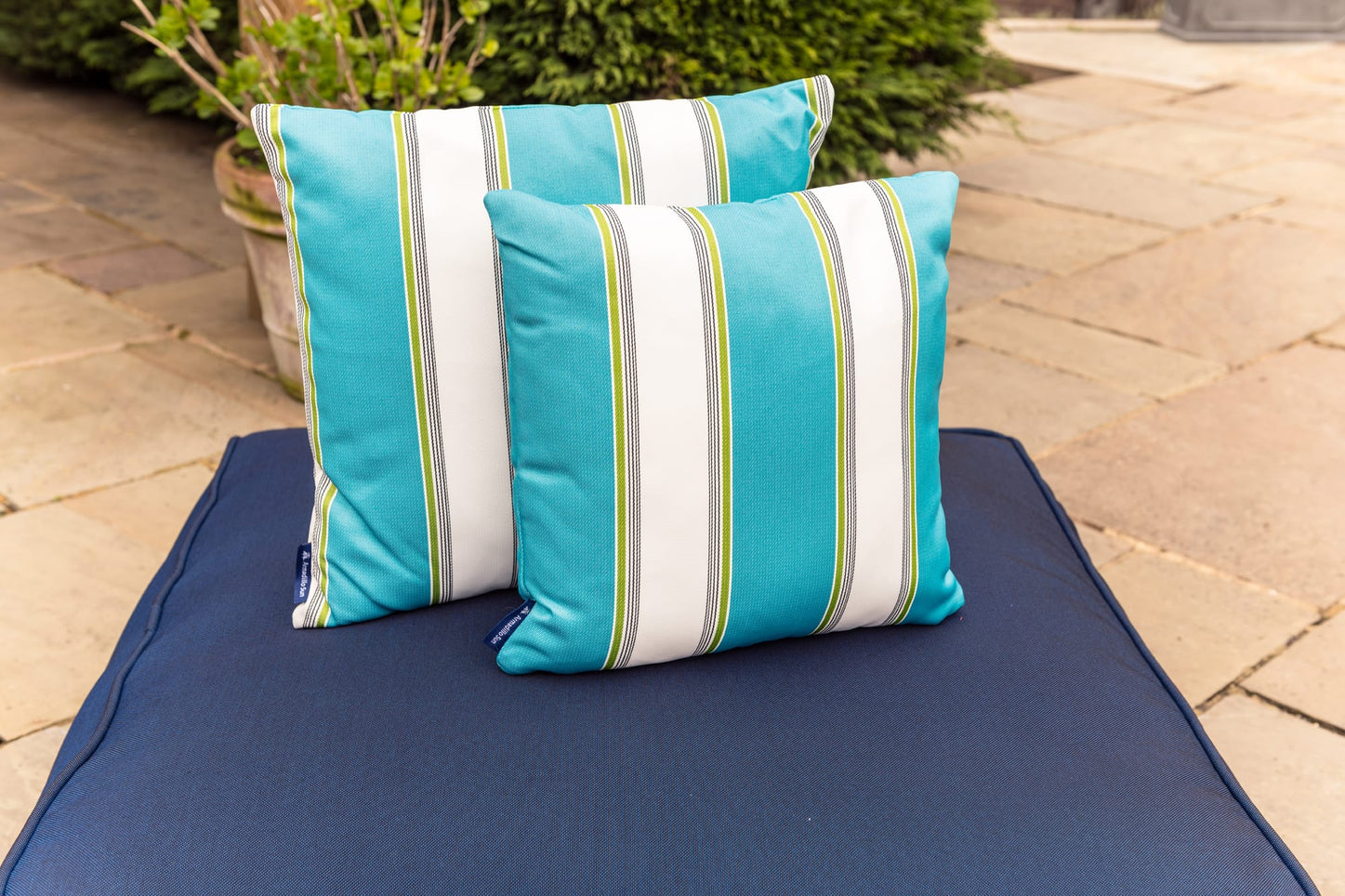 Luxury Summer Stripe in Turquoise, White and Green - Outdoor Cushion Bean Bag Cushion armadillosun
