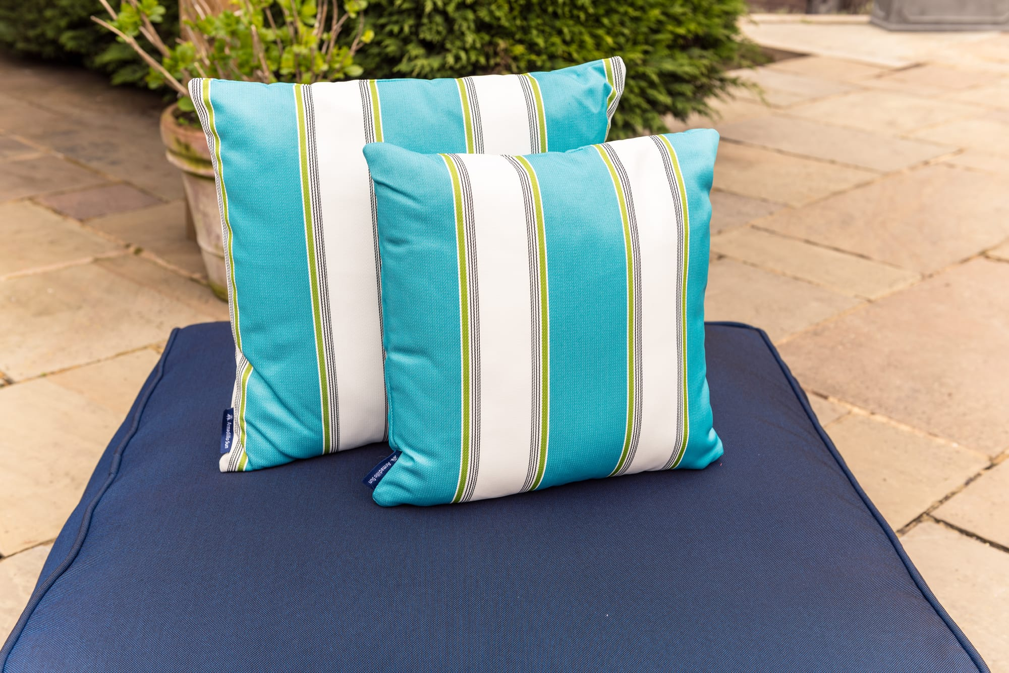Luxury Summer Stripe in Turquoise, White and Green - Outdoor Cushion