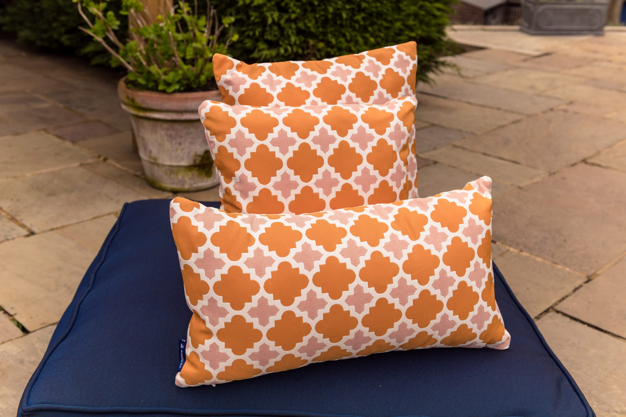 Luxury Outdoor Cushion in Orange Lattice design Bean Bag Cushion armadillosun