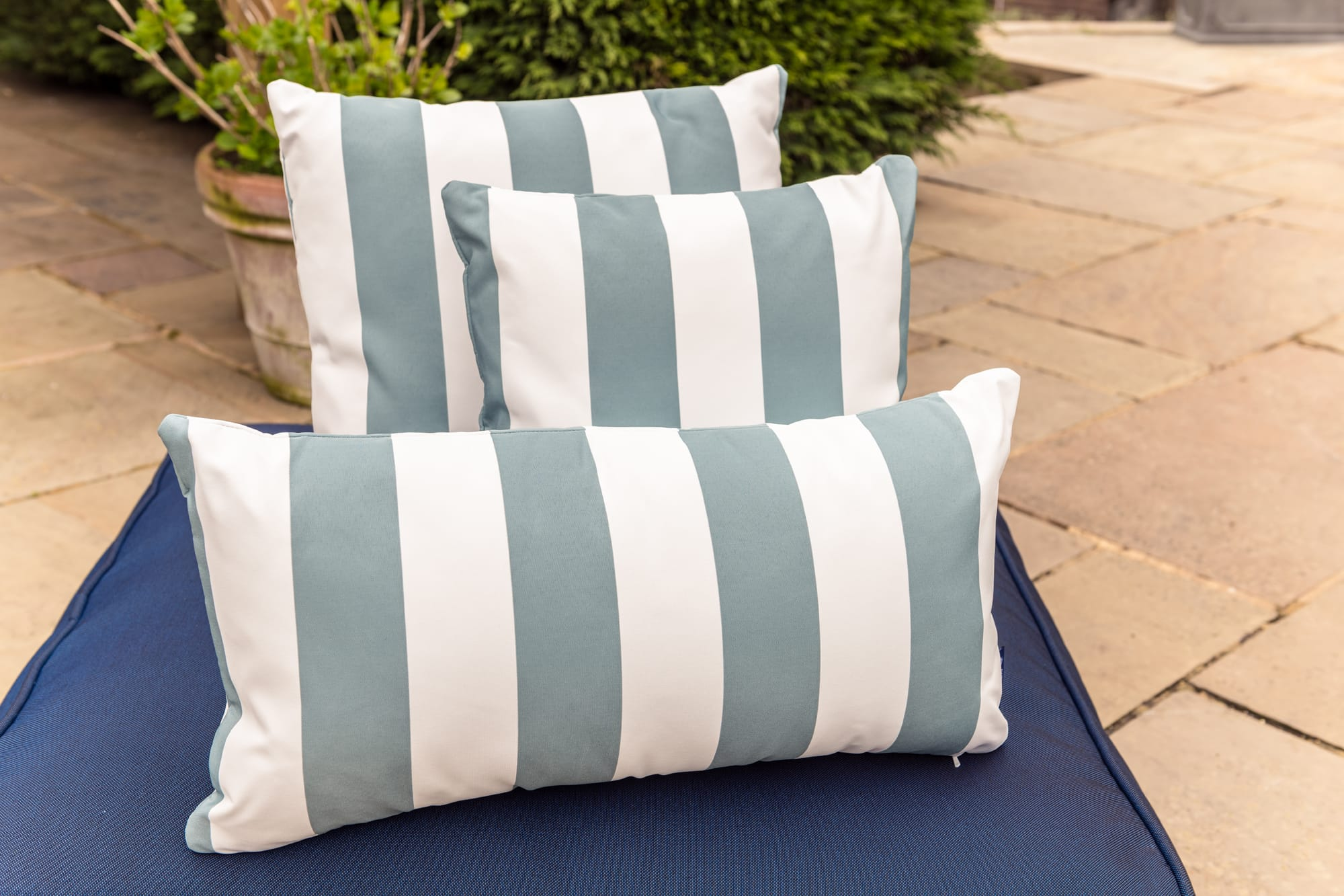 Luxury Cushion in Ocean Blue Candy Stripe Bean Bag Cushion armadillosun