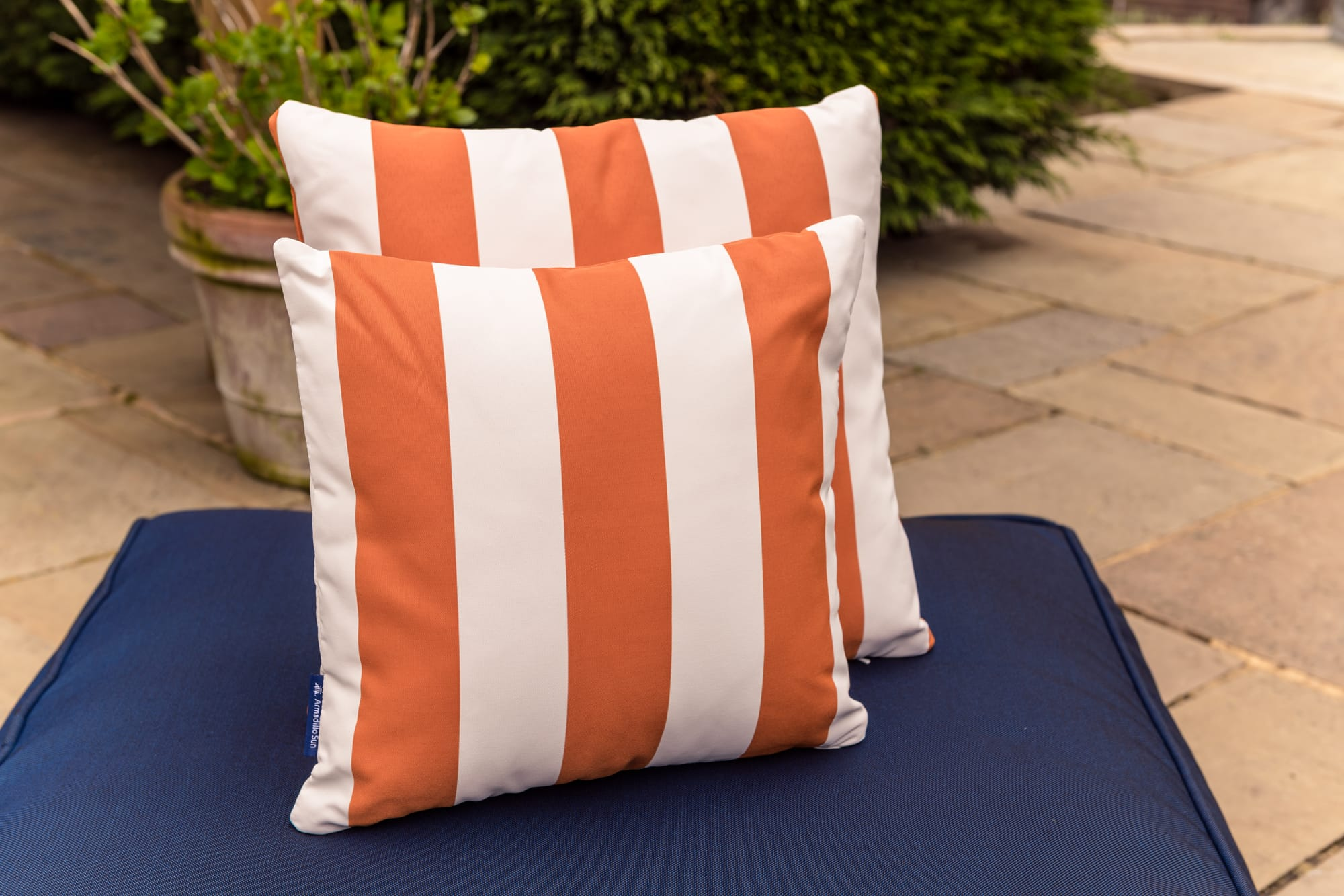 Luxury Cushion in Orange  Candy stripe
