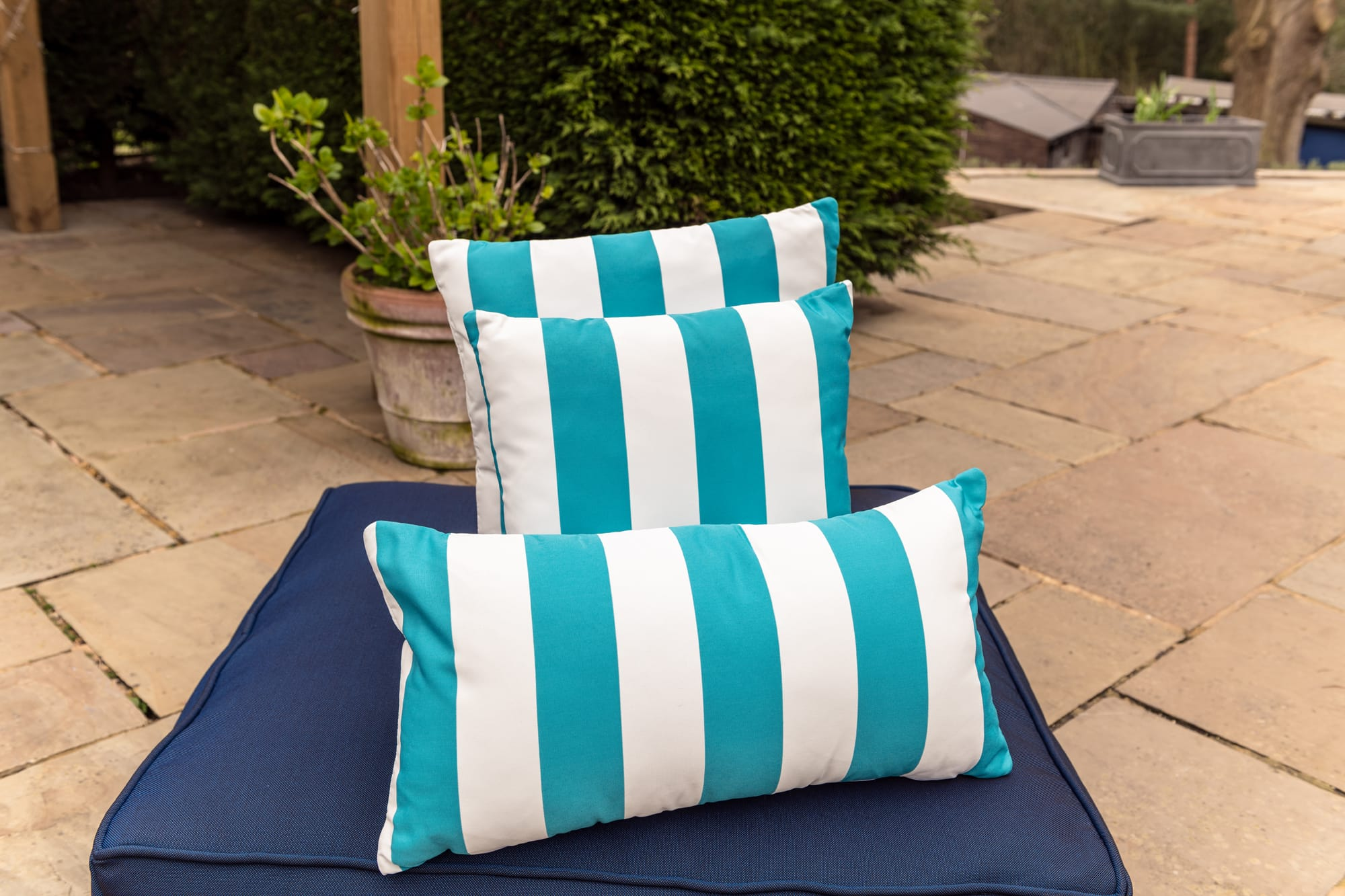Luxury Cushion in Turquoise Candy Stripe Bean Bag Cushion armadillosun