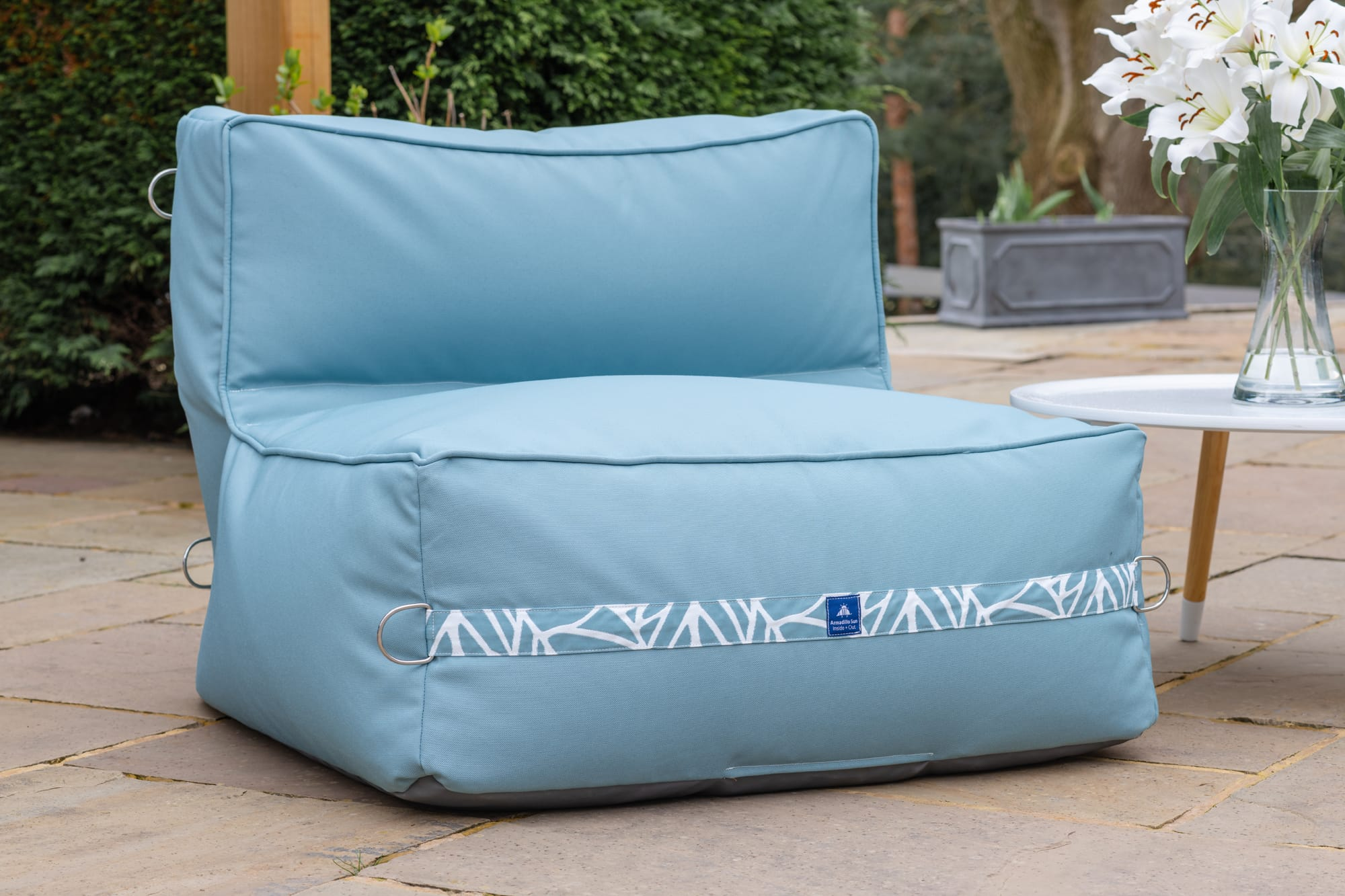 Adult Monaco Modular Bean Bag Chair in Ocean with Palm Patterned Straps