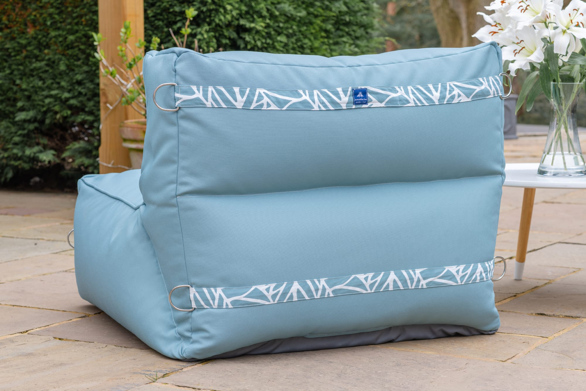 Monaco Modular Bean Bag Chair in Ocean with Palm Patterned Straps Monaco armadillosun